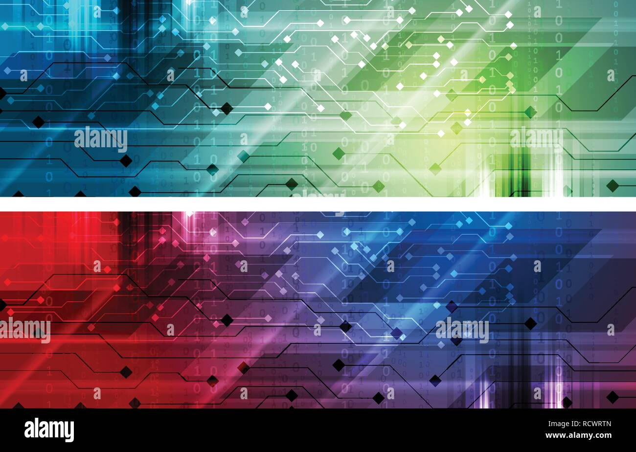 Bright abstract technology banners with circuit board and binary system code. Vector headers design - Stock Image