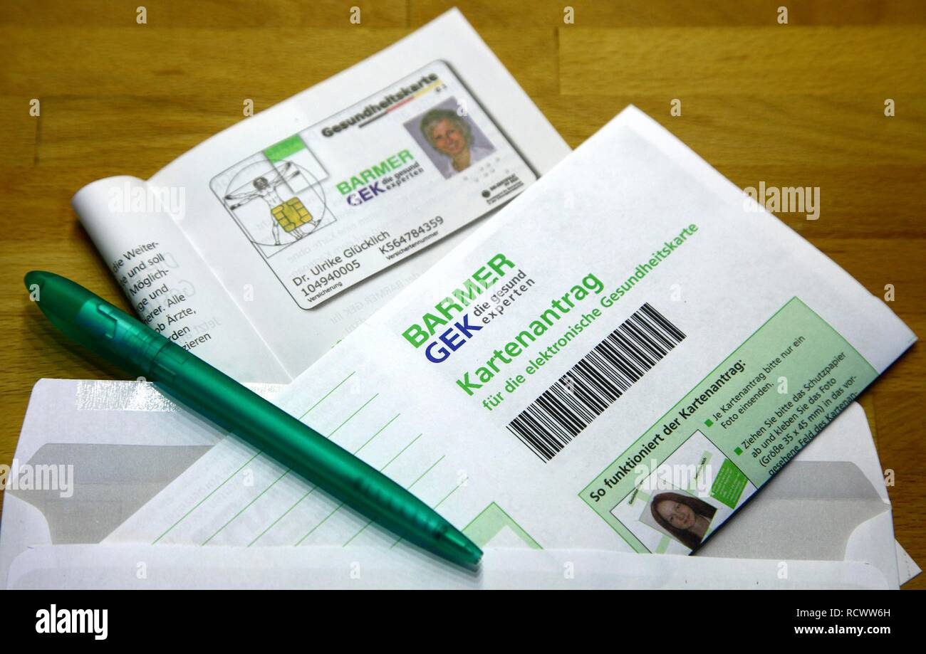 Application form for the new electronic health insurance card, issued by health insurances - Stock Image