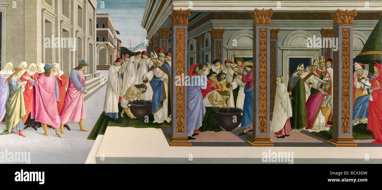 Three Miracles of Saint Zenobius. Museum: National Gallery, London. Author: BOTTICELLI, SANDRO. - Stock Image
