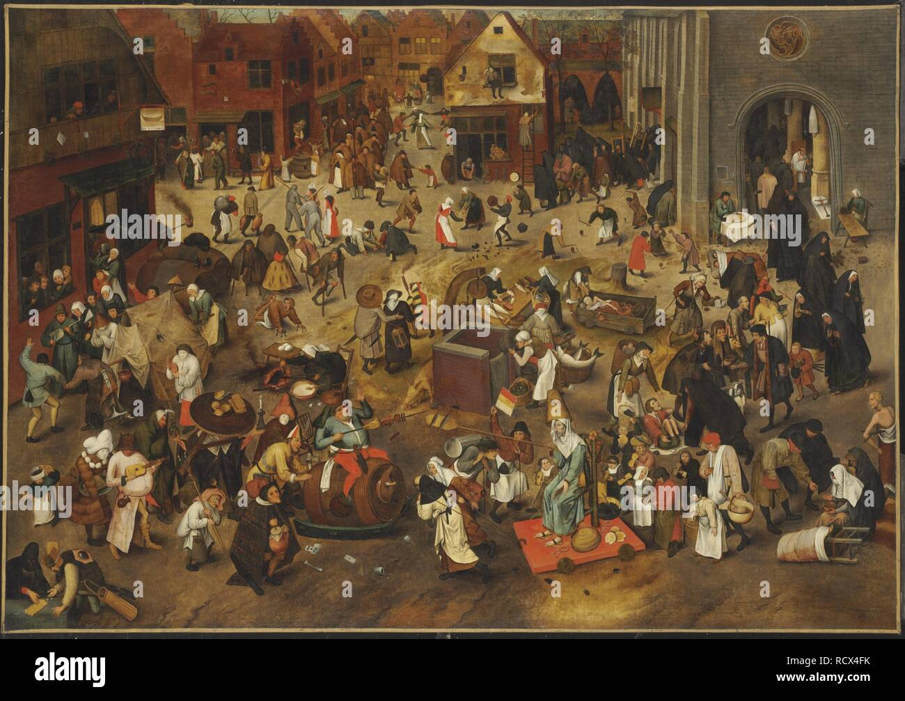 The Fight Between Carnival and Lent. Museum: Art History Museum, Vienne. Author: Bruegel (Brueghel), Pieter, the Elder. Stock Photo