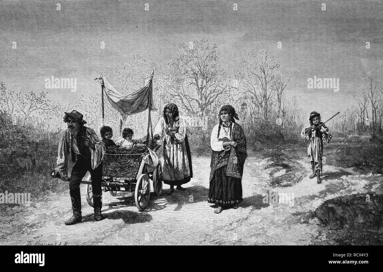Gypsy travellers, wood engraving, 1880 Stock Photo