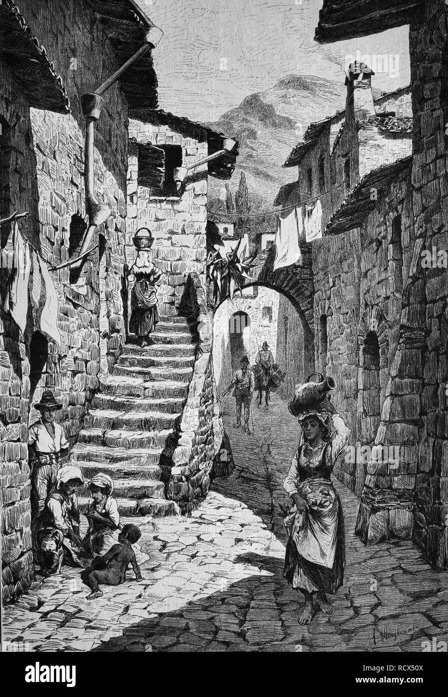 Main street in Gori, the regional capital of Shida Kartli, eastern Georgia, wood engraving, 1880 - Stock Image