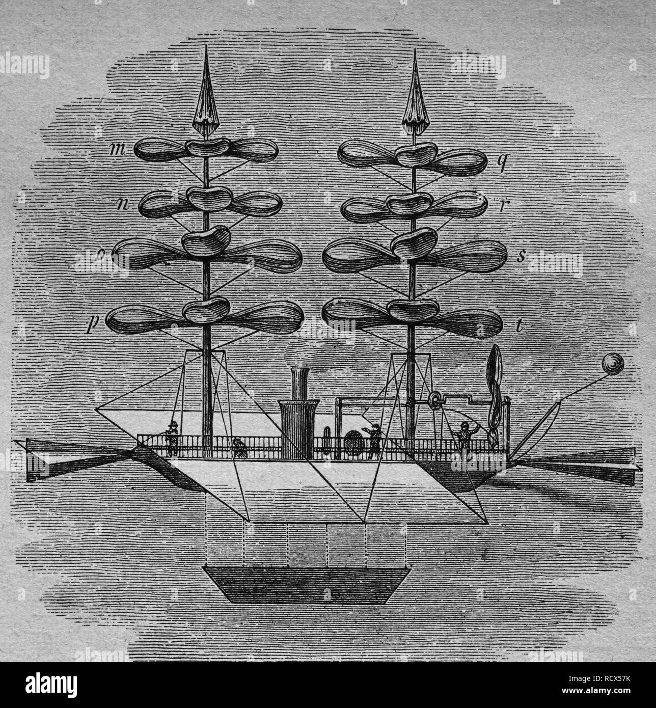 Flying machine by Gabriel de la Landelle, 1861, clockwork-powered helicopter model, woodcut, historical engraving, 1882 - Stock Image