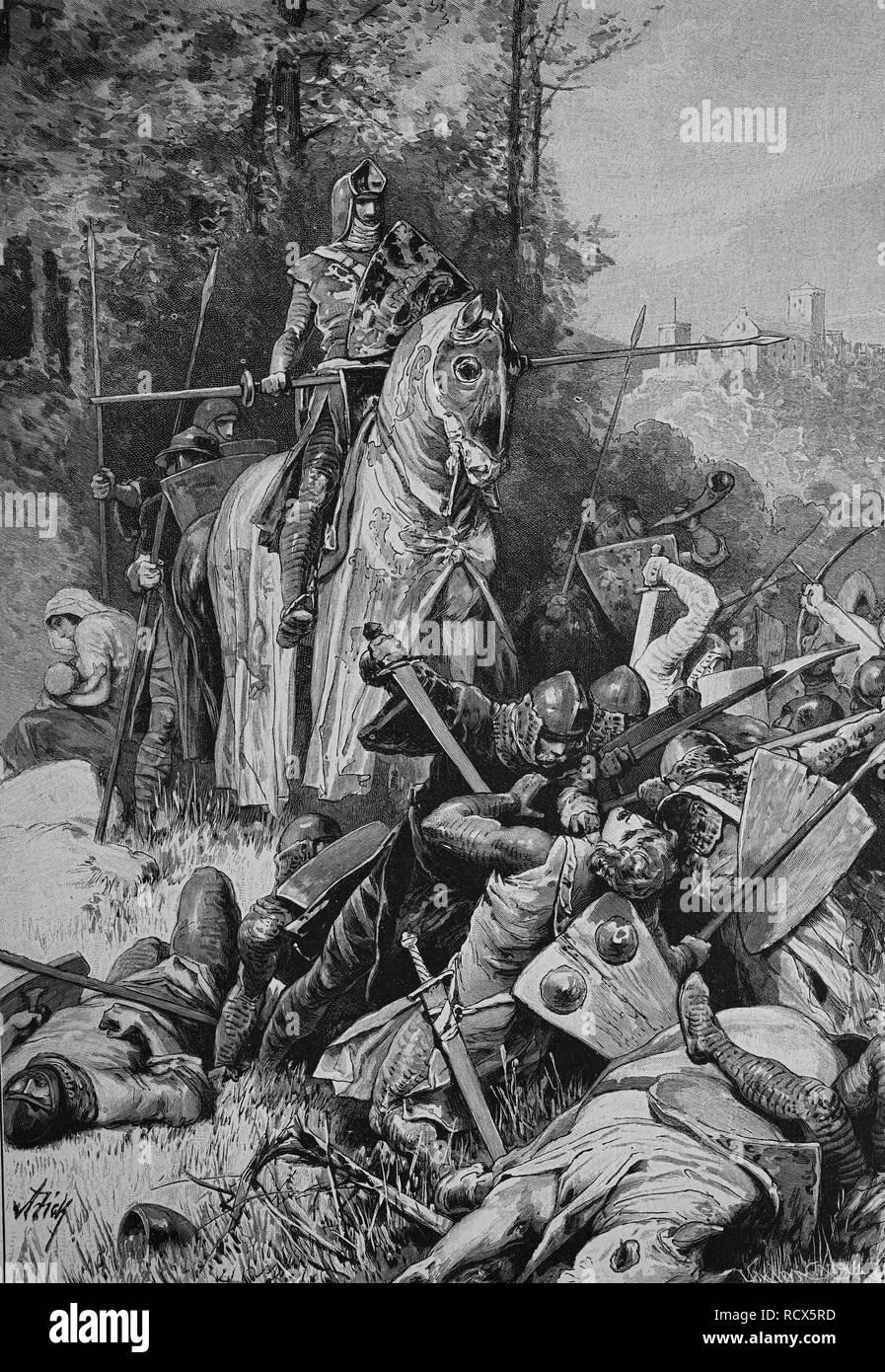 Friedrich der Freidige or Friedrich der Gebissene, holding up enemies with bitten cheek, on of the margraves of Meissen and - Stock Image