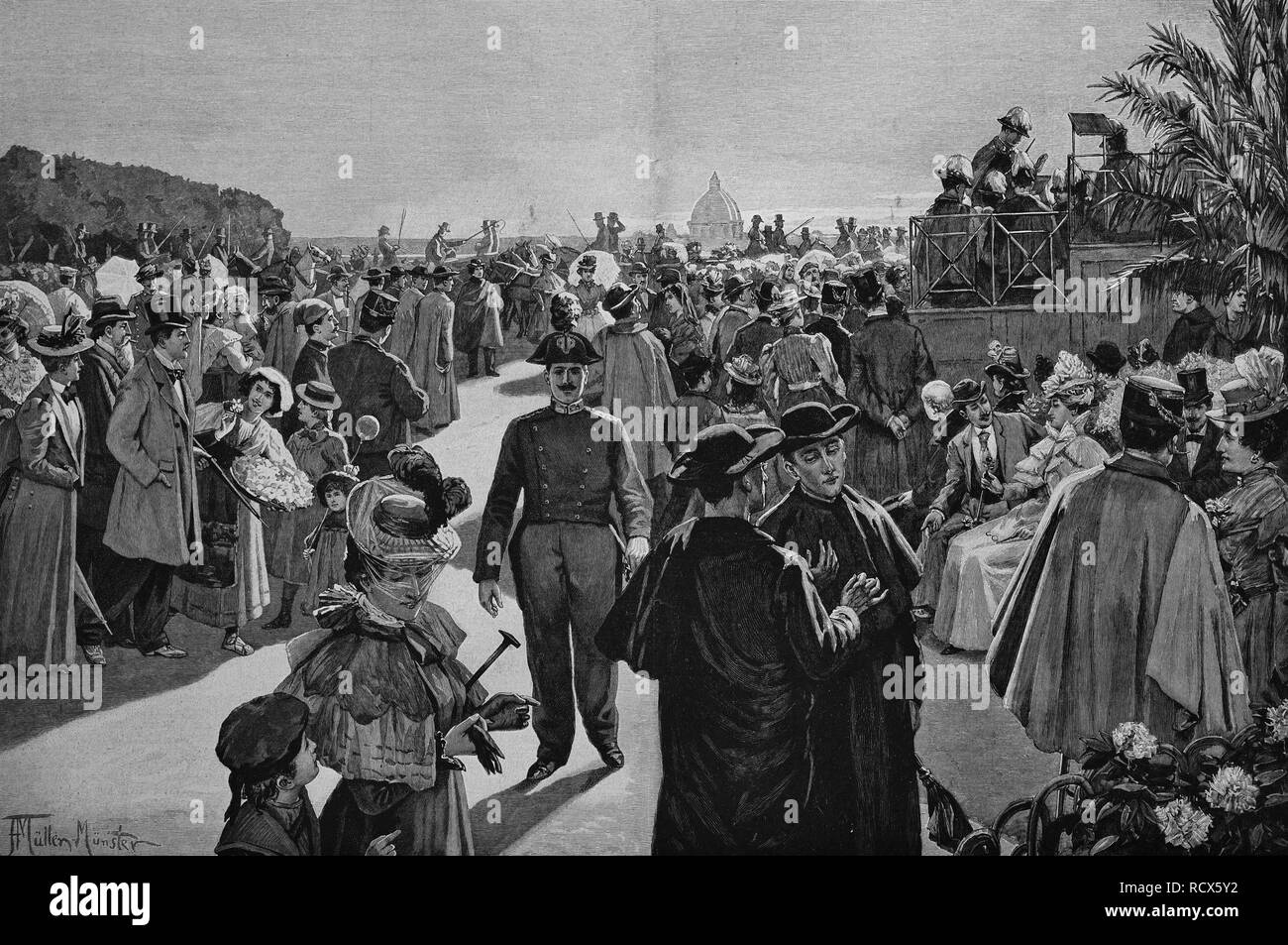 People on the Pincian Hill in Rome in the evening, Italy, woodcut, 1888 - Stock Image