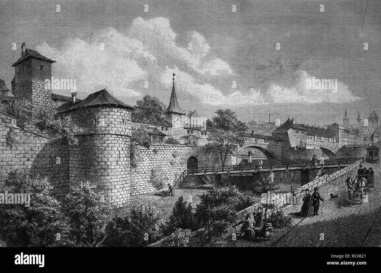 Bastion and moat at Hallertor in Nuremberg, Germany, wood engraving, c 1880 - Stock Image