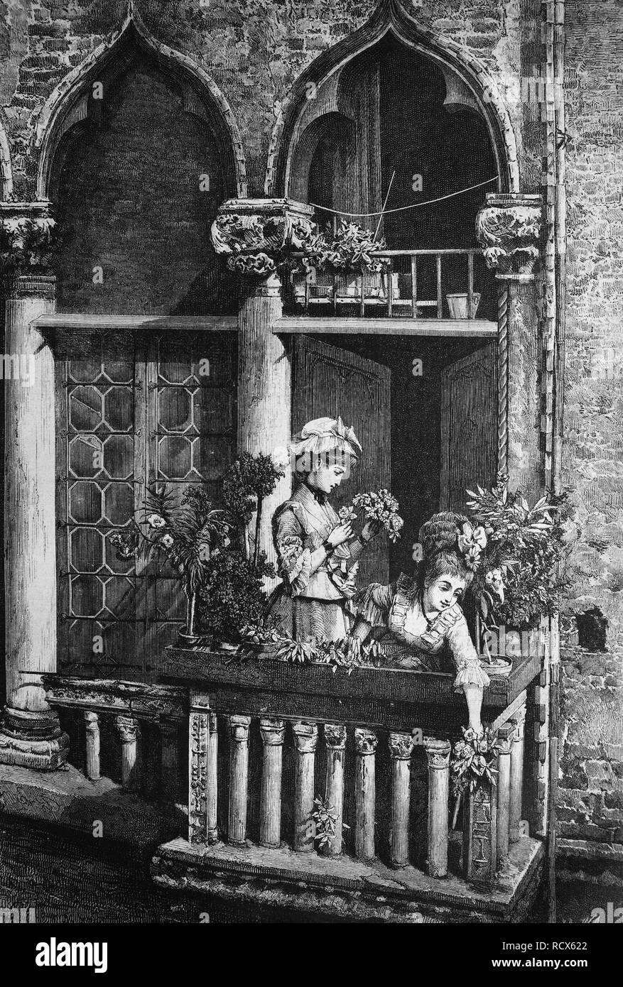 Venetian balcony, Italy, wood engraving, c 1880 - Stock Image