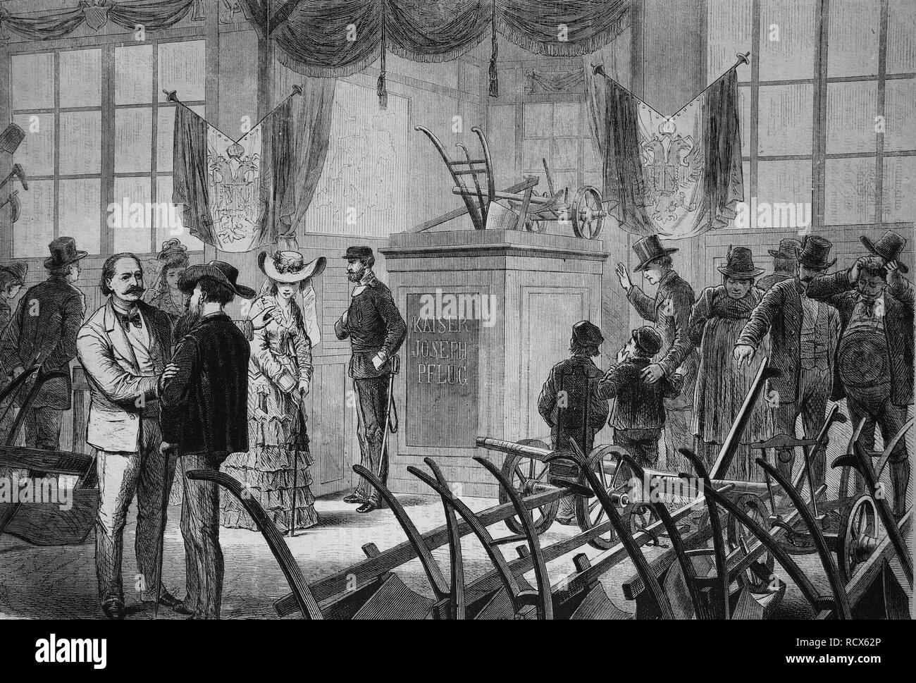 The plow pavilion at the Vienna World Exhibition, Vienna, Austria, wood engraving, c 1880 - Stock Image