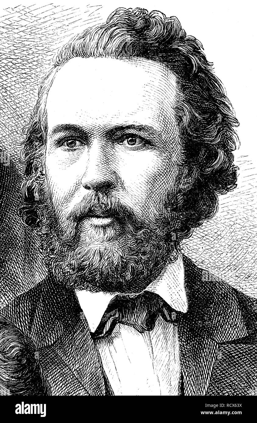 Ernst Heinrich Philipp August Haeckel, 1834 - 1919, a German zoologist, philosopher and free thinker, wood engraving, 1880 - Stock Image