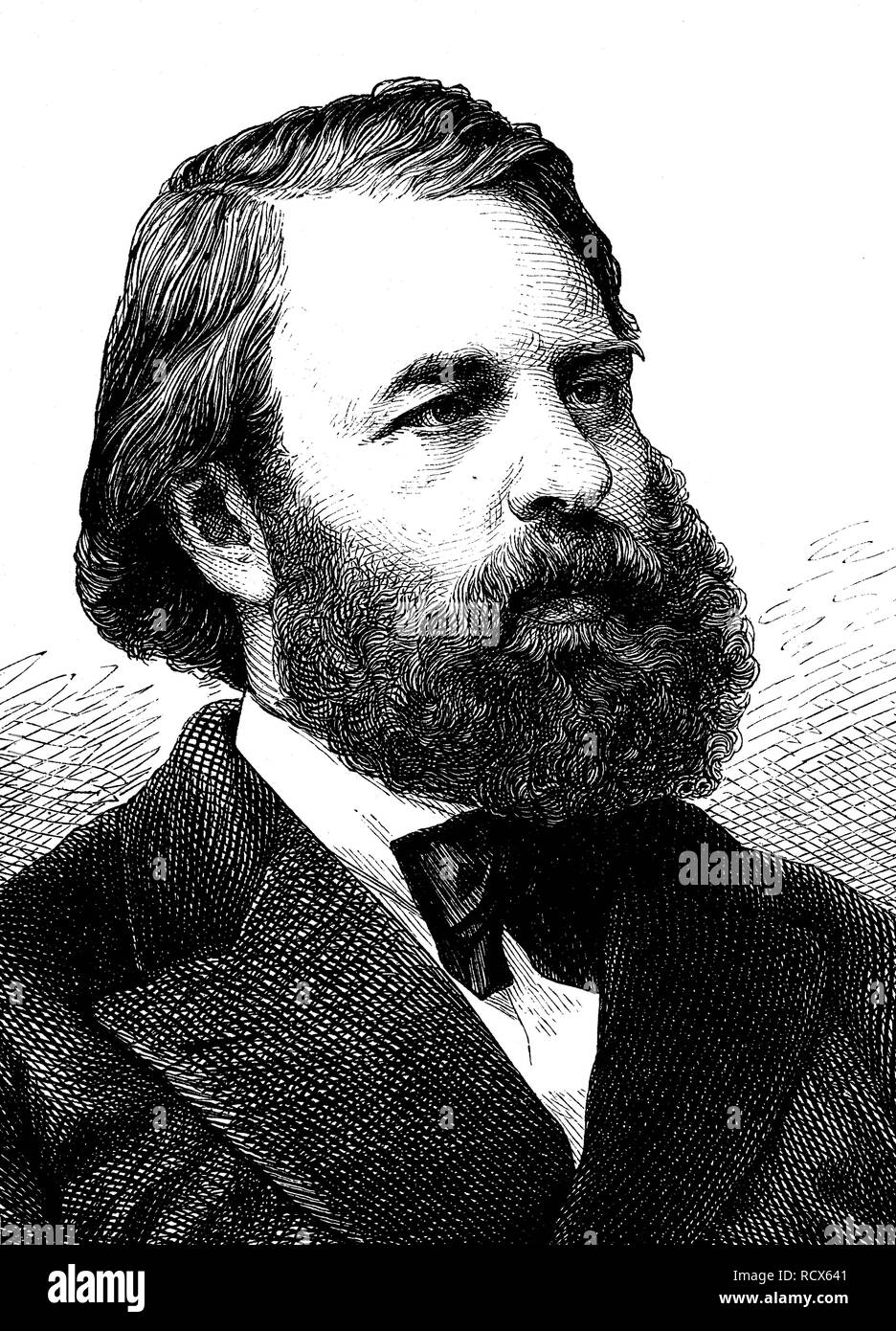 Joseph Joachim, 1831 - 1907, Austro-Hungarian violinist, conductor and composer, wood engraving, 1880 - Stock Image