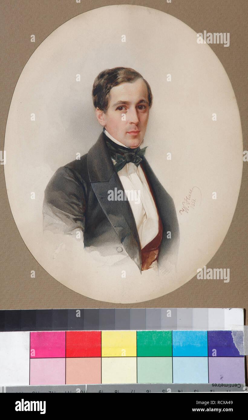 Portrait of Fyodor Nikolayevich Chelishchev (1811-1881). Museum: Podstanitsky collection. Author: Hau (Gau), Vladimir Ivanovich. Stock Photo