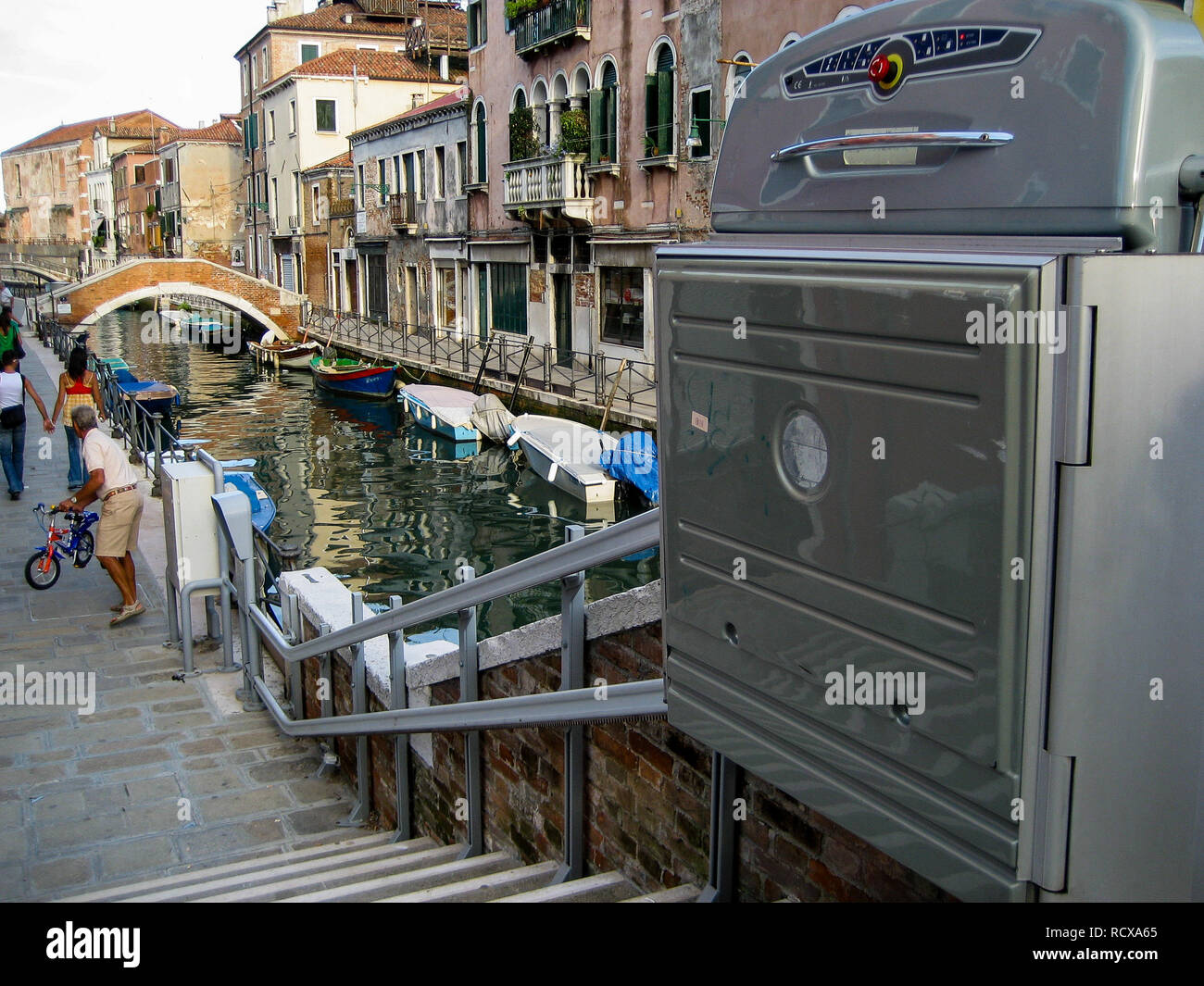 Accessibility equipments for disabled, Venice, Veneto, Italy Stock Photo