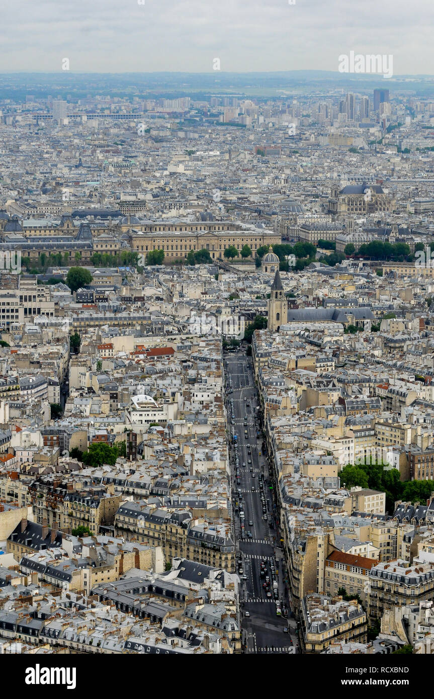 General view of the French Capitale seen from the terrace of Montparnasse Tower, Paris, France - Stock Image