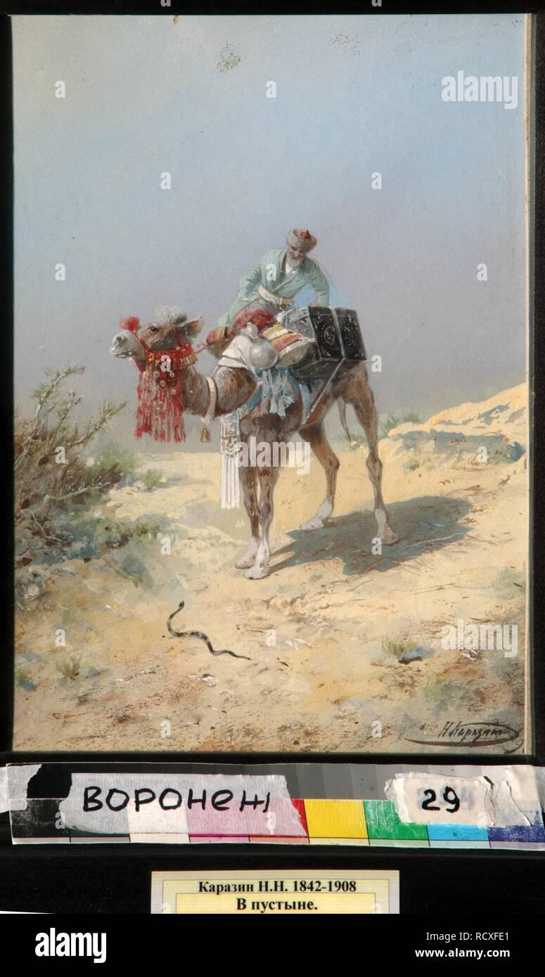 In the Desert. Museum: Regional I. Kramskoi Art Museum, Voronezh. Author: Karasin, Nikolai Nikolayevich. - Stock Image