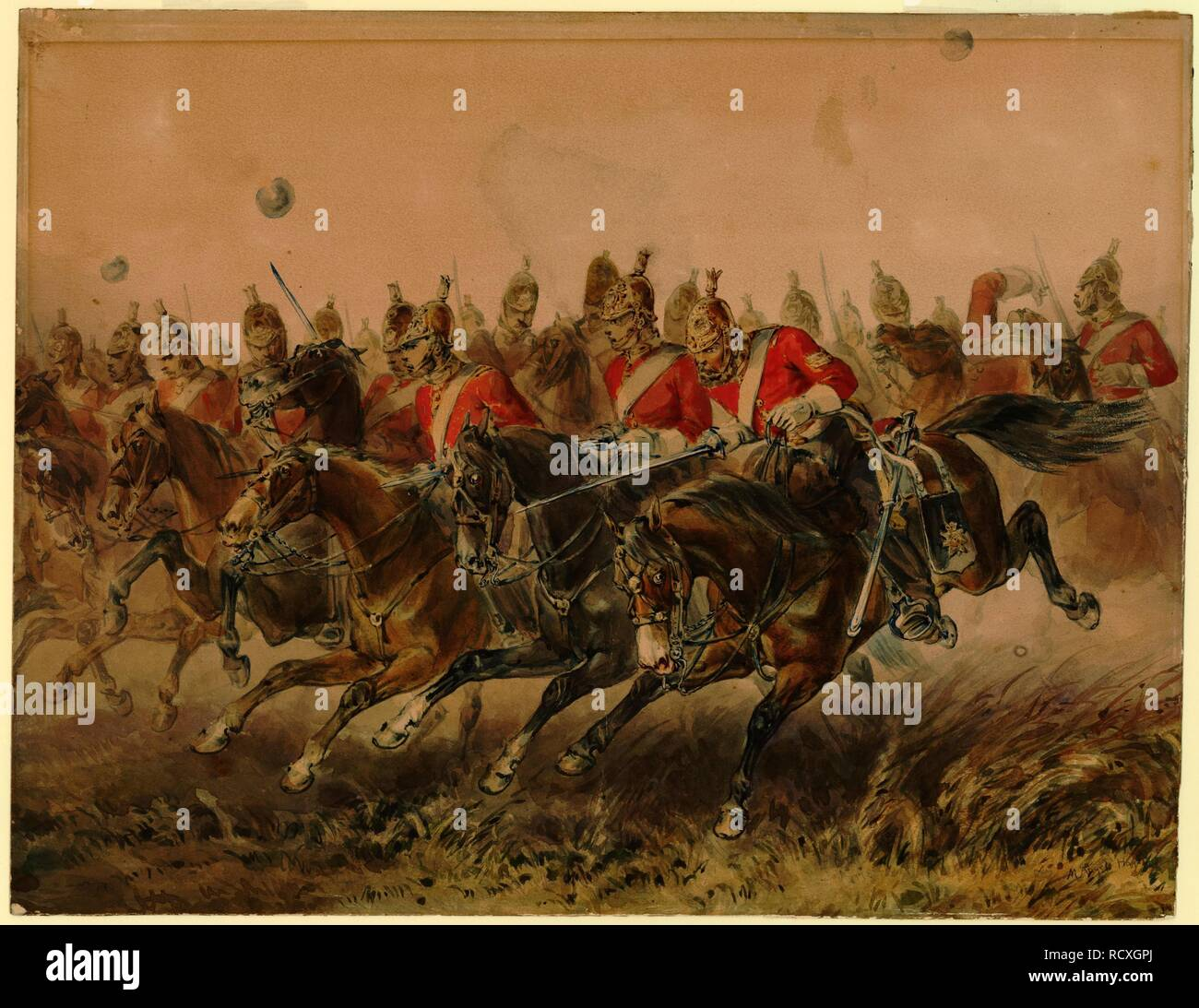 The Charge of the Light Brigade during the Battle of Balaclava. Museum: PRIVATE COLLECTION. Author: HAYES, MICHAEL ANGELO. - Stock Image