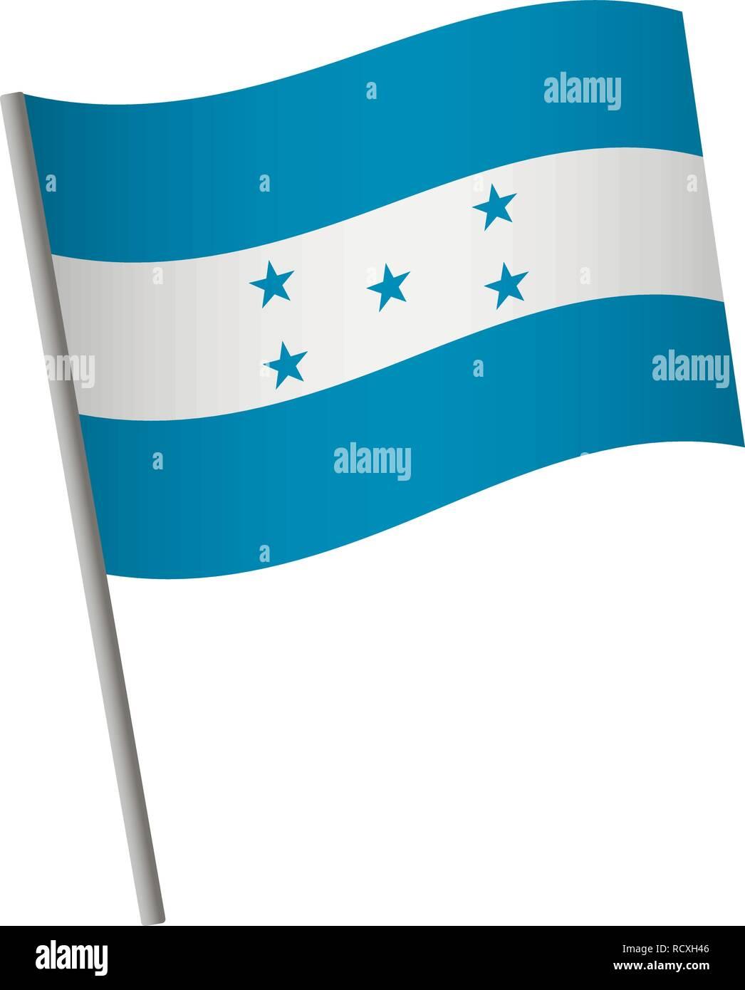 Honduras flag icon. National flag of Honduras on a pole vector illustration. Stock Vector