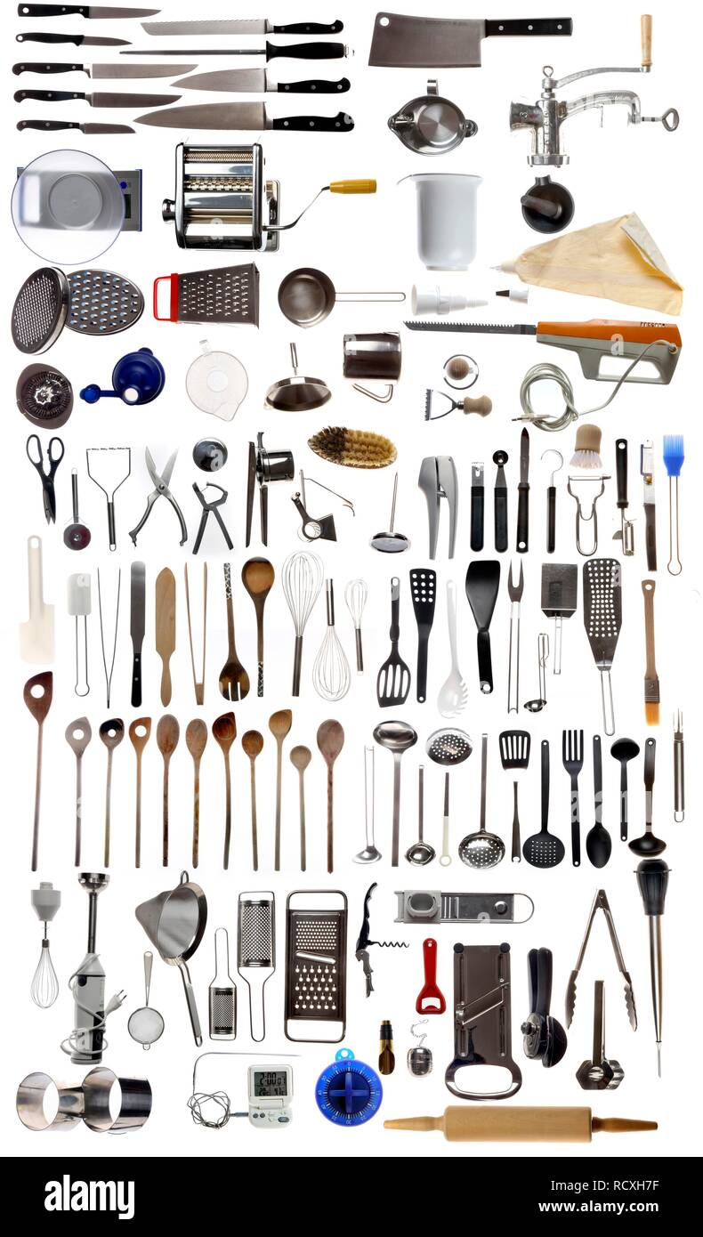 Various kitchen appliances, cooking tools and utensils Stock ...