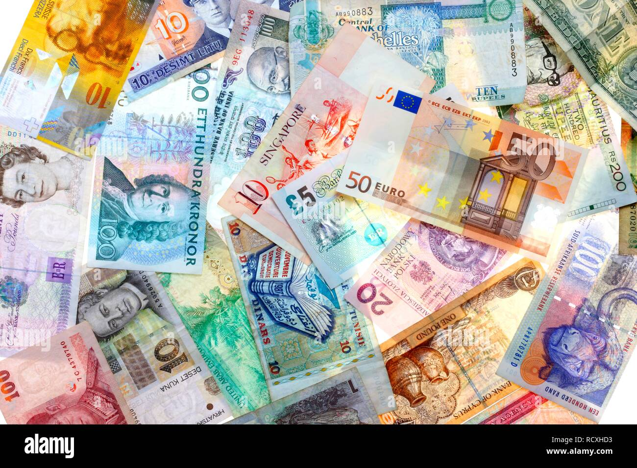 Banknotes, different currencies from around the world, foreign exchange - Stock Image