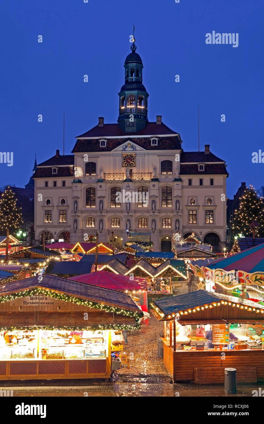 Christmas market, town hall, Lueneburg, Lower Saxony Stock Photo