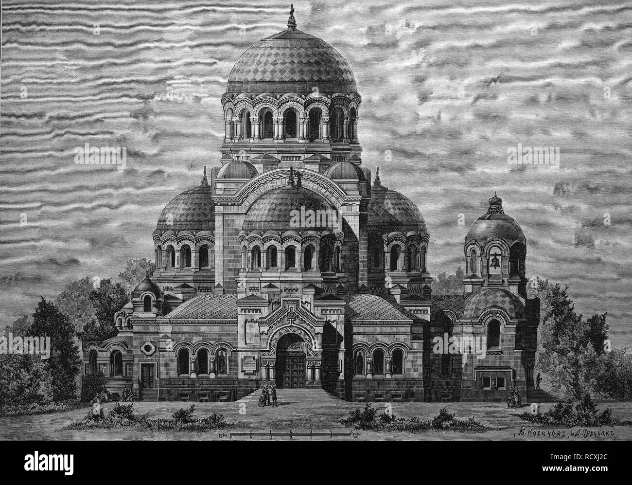 Historical engraving, cathedral built for the coronation of the Russian Imperial couple in St Petersburg, Russia, 1888 - Stock Image