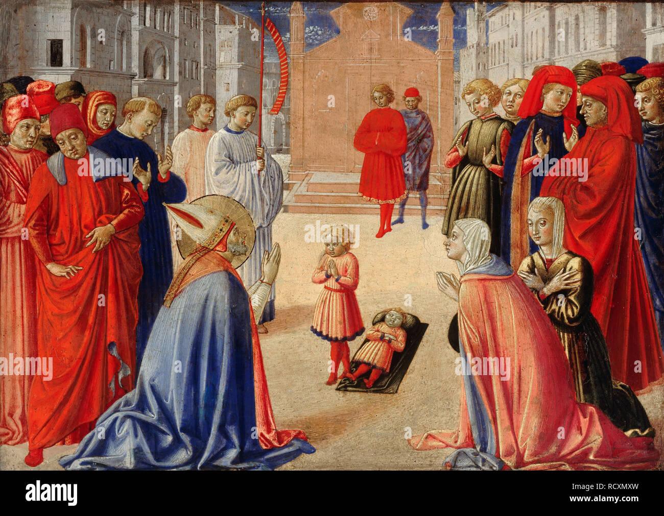 Saint Zenobius raises a boy from the dead. Museum: Staatliche Museen, Berlin. Author: GOZZOLI, BENOZZO. - Stock Image