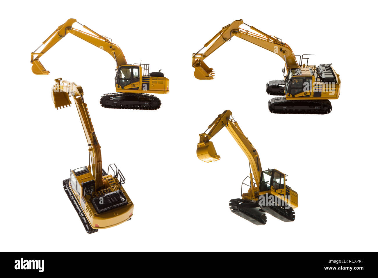 Excavator construction machinery four angles isolated on a white background - Stock Image