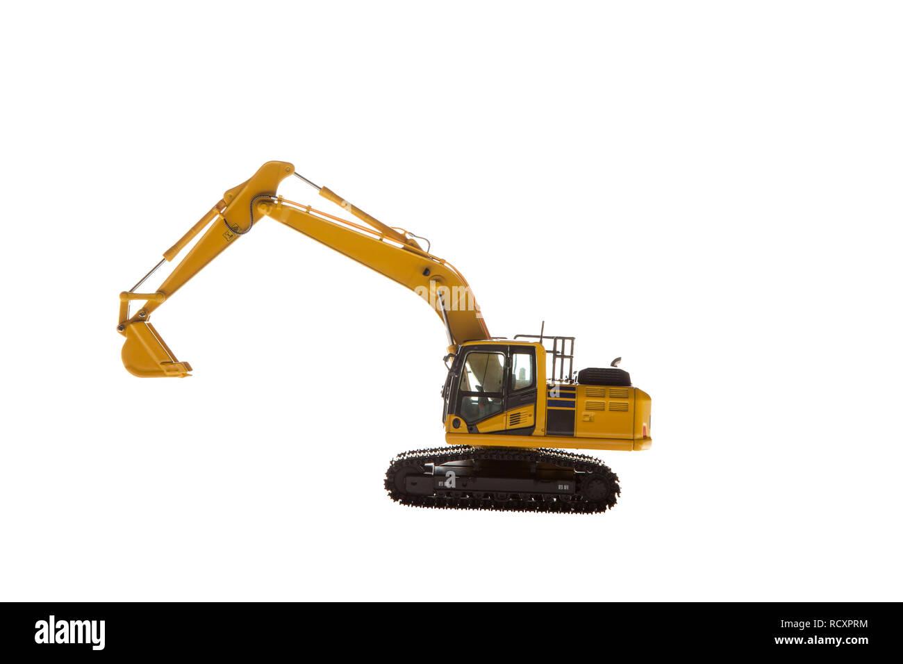 Heavy construction machinery isolated on white background - Stock Image