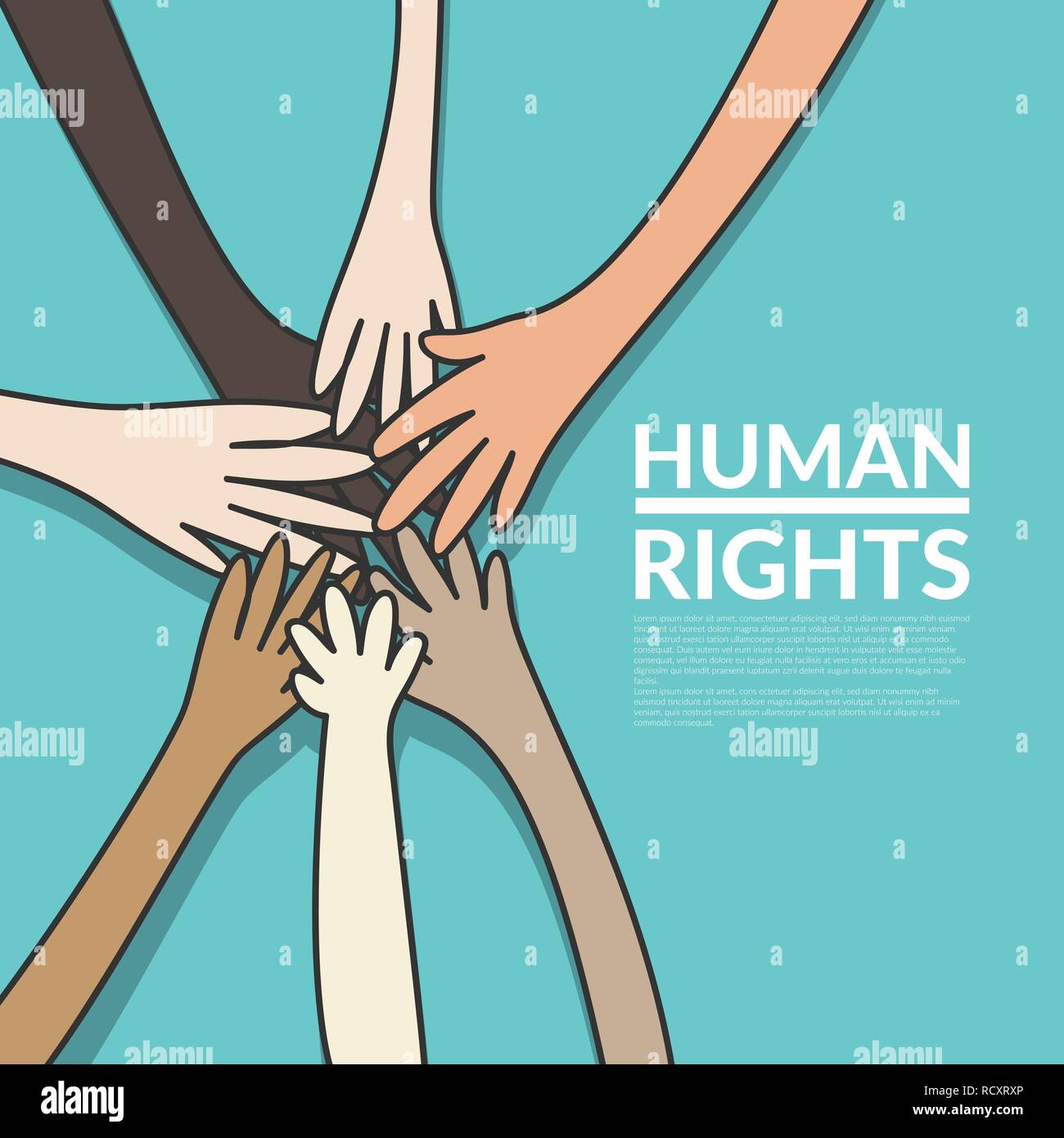 human rights and unity concept. young multi nationality people putting their hands stack together. vector illustration, flat design - Stock Image