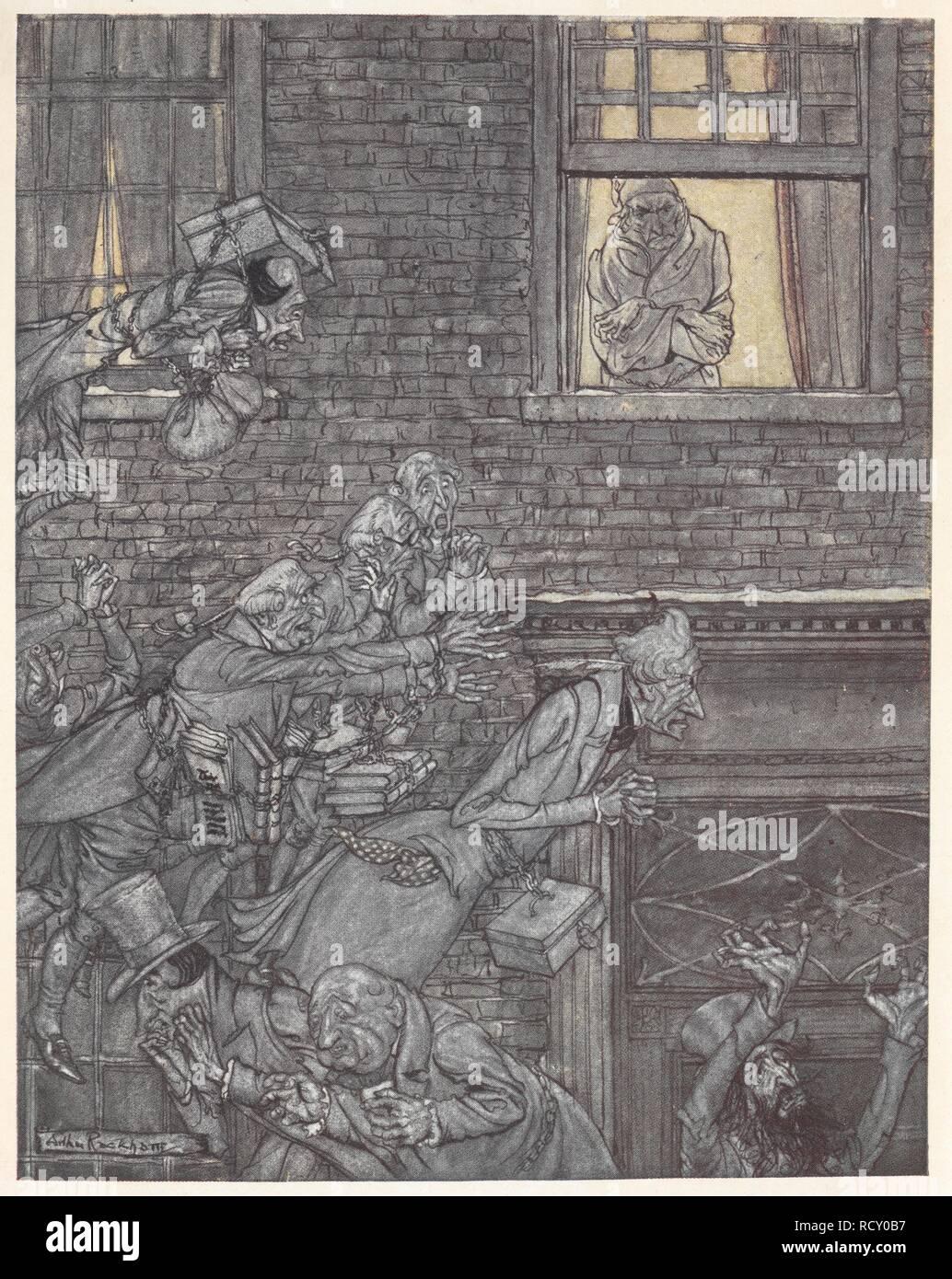 Scrooge At His Window Watching Ghosts In The Street Below A Christmas Carol Illustrated By Arthur Rackham London J B Lippincott Co Philadelphia Wiiliam Heinemann 1915 The Air Was Filled