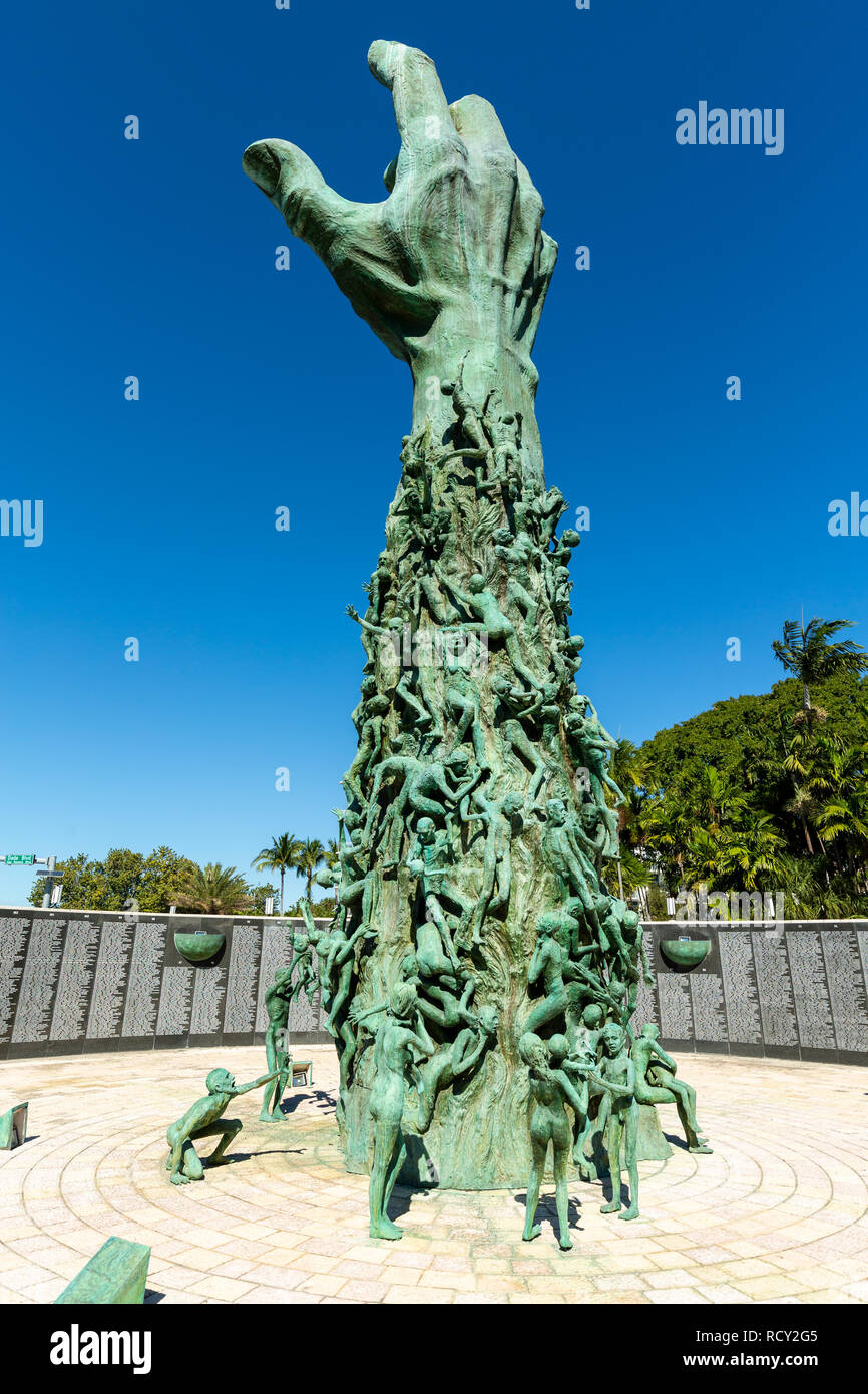 Miami Beach, Florida, USA - January 10th, 2019, The Holocaust Memorial. The memorial consists of several elements. The focal point is the 13 meter (42 - Stock Image