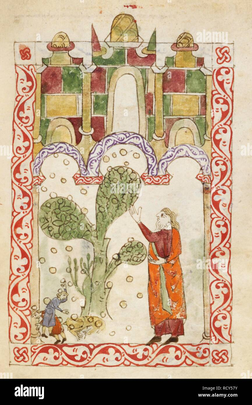 The plague of hail. Hispano-Moresque Haggadah. Castile, c.1300. Vellum manuscript.   . Source: Or. 2737, f.76v. Language: Hebrew. - Stock Image