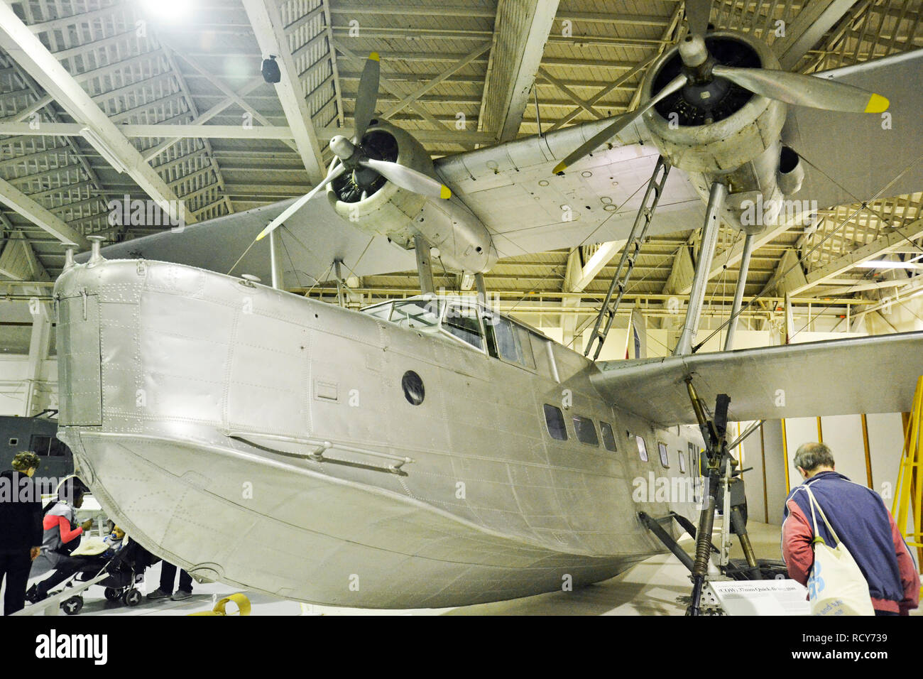 Stranraer Flying Boat, WWII Military Aircraft on display at the RAF Museum, London, UK - Stock Image