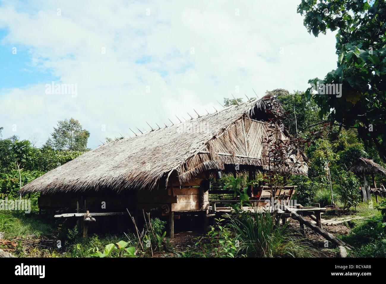 Muara Siberut, Mentawai Islands / Indonesia - Aug 15 2017: tribal jungle home - Stock Image