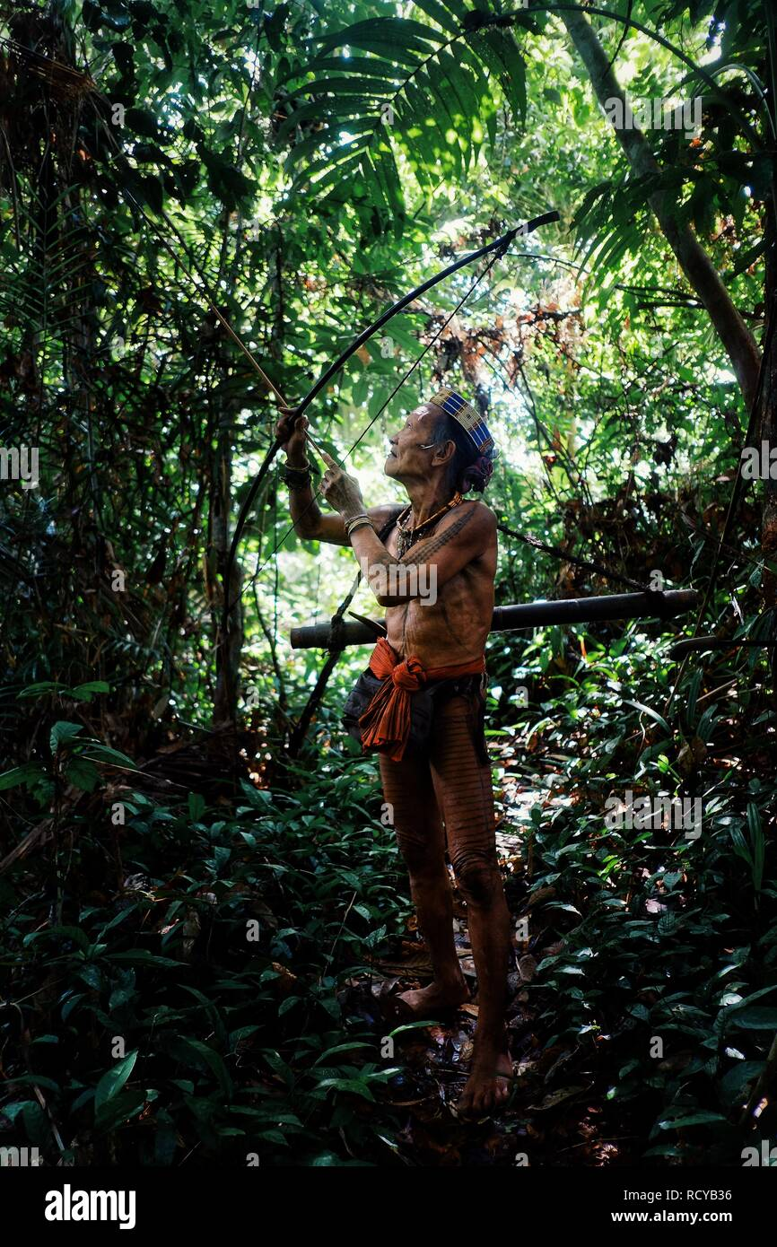 Muara Siberut, Mentawai Islands / Indonesia - Aug 15 2017: Tribal hunter Toikot on a hunting trip for monkeys deep in the jungle - Stock Image