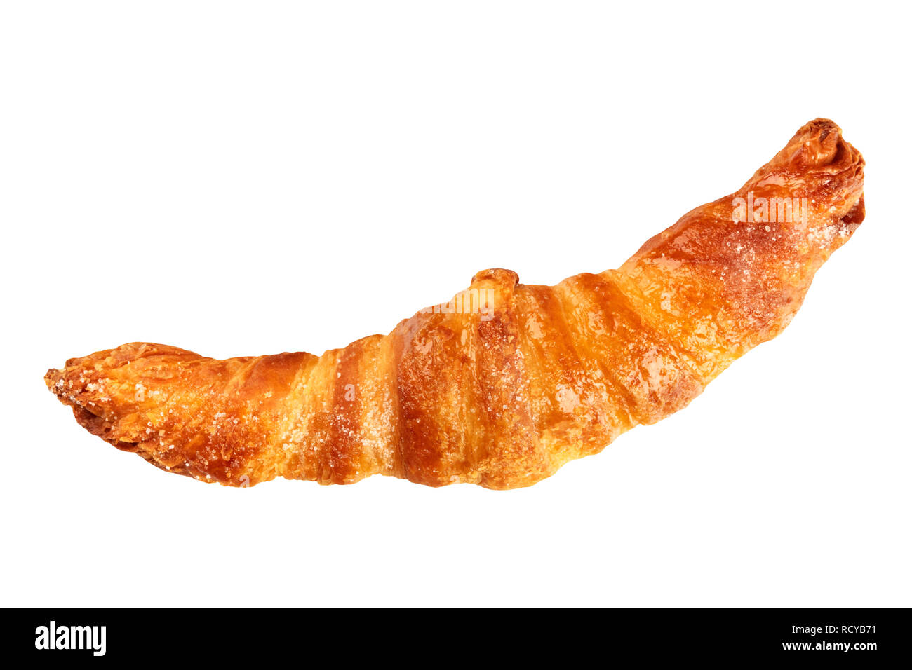 A croissant, shot from the top, isolated on a white background with a clipping path - Stock Image