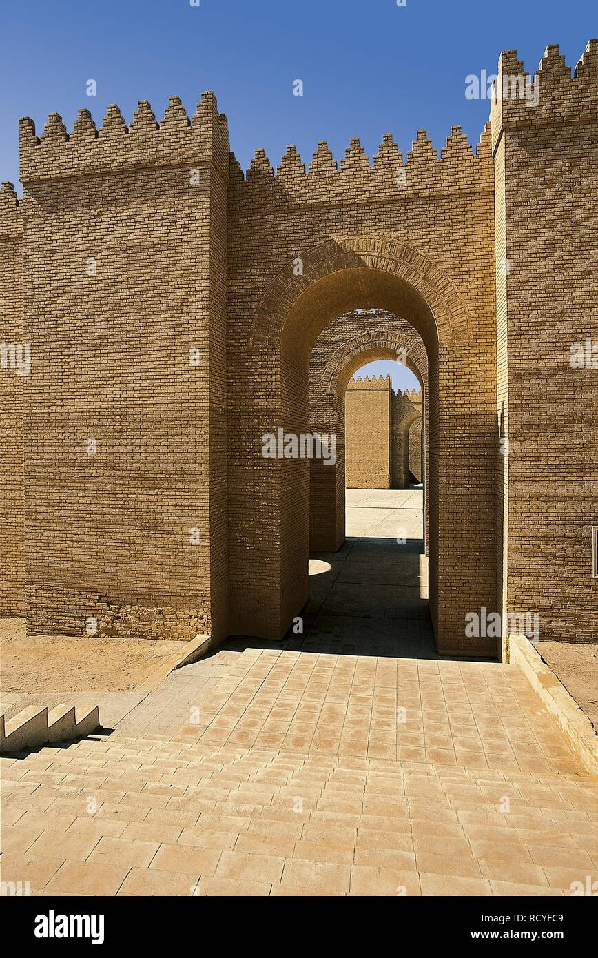 6416. The Ishtar Gate was the eighth gate to the inner city of Babylon. It was constructed in about 575 BC by  King Nebuchadnezzar II.(reconstruction) Stock Photo