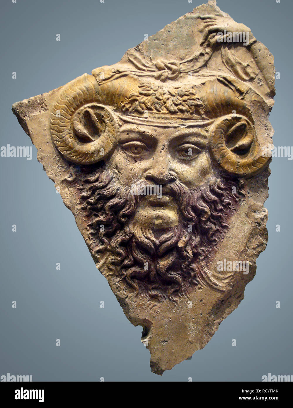 6426. Jupiter Ammon God of god of the sky and thunder and king of the gods in Ancient Roman religion. Terracotta cast, 1st. C. BC. Stock Photo