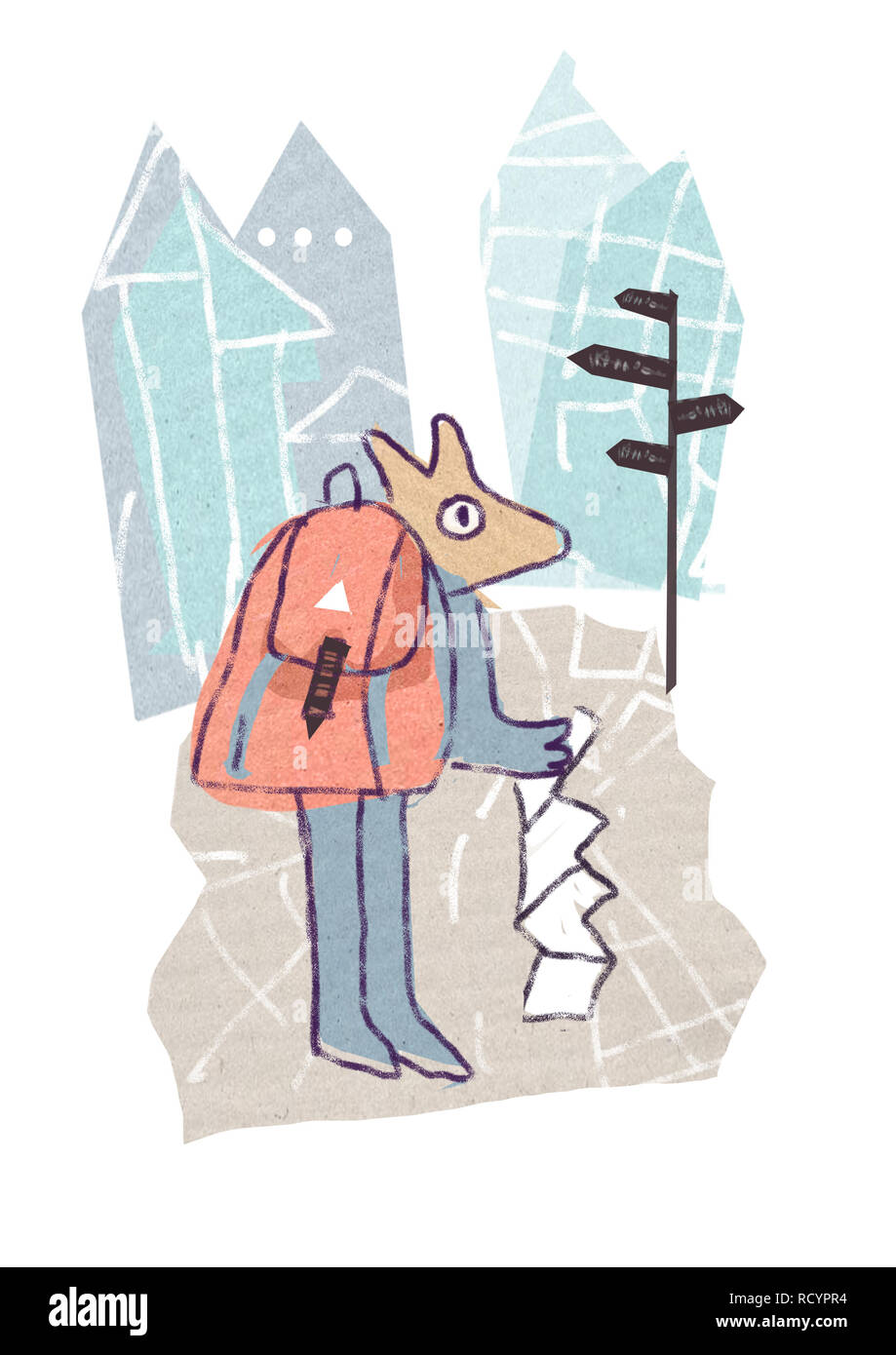 Tourist with a map in hand against the city background.The illustration in cartoon style is isolated on a white background, - Stock Image
