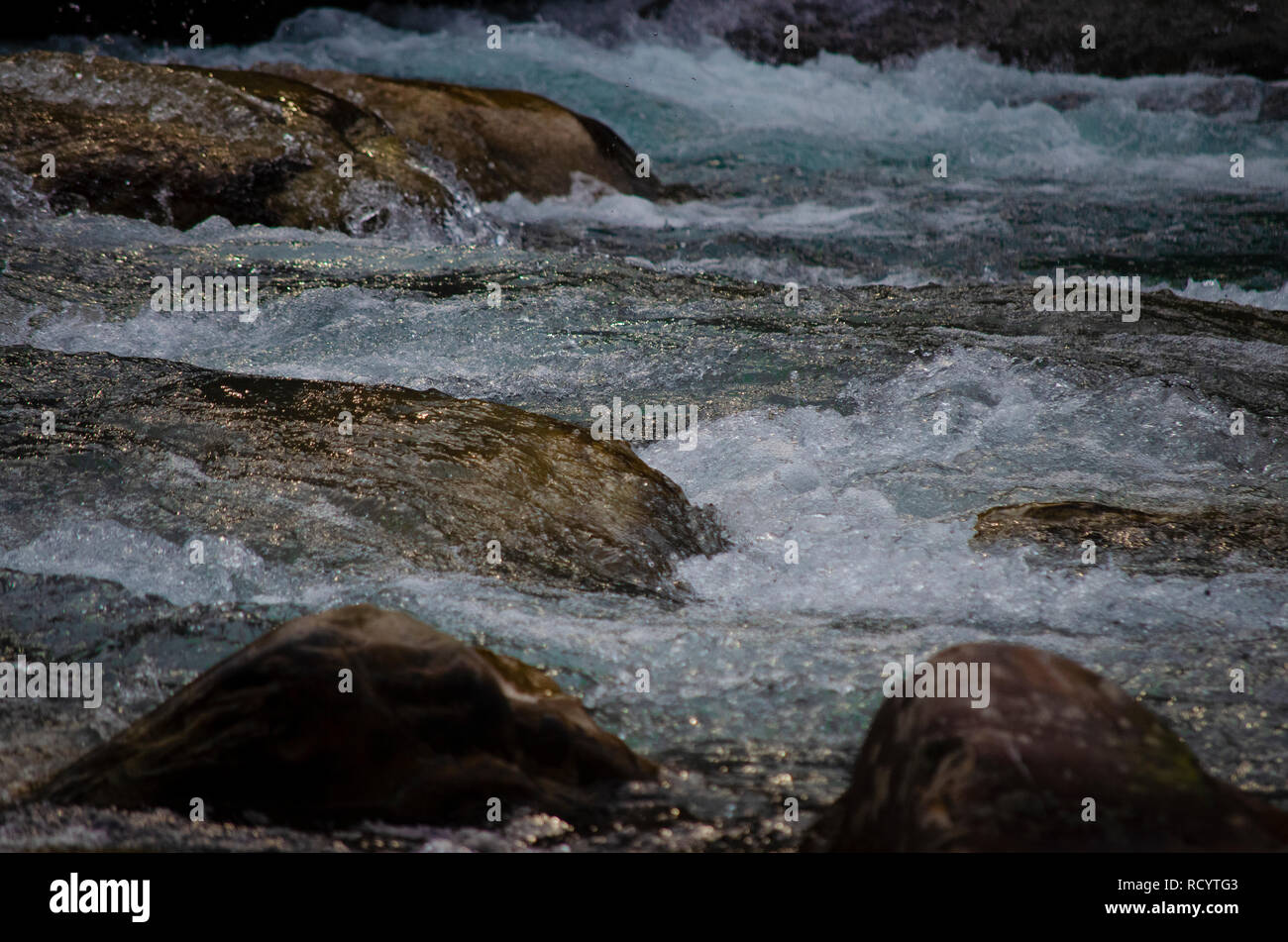 Parvati river viewed from Chalal, a small village in Himachal Pradesh, India. - Stock Image