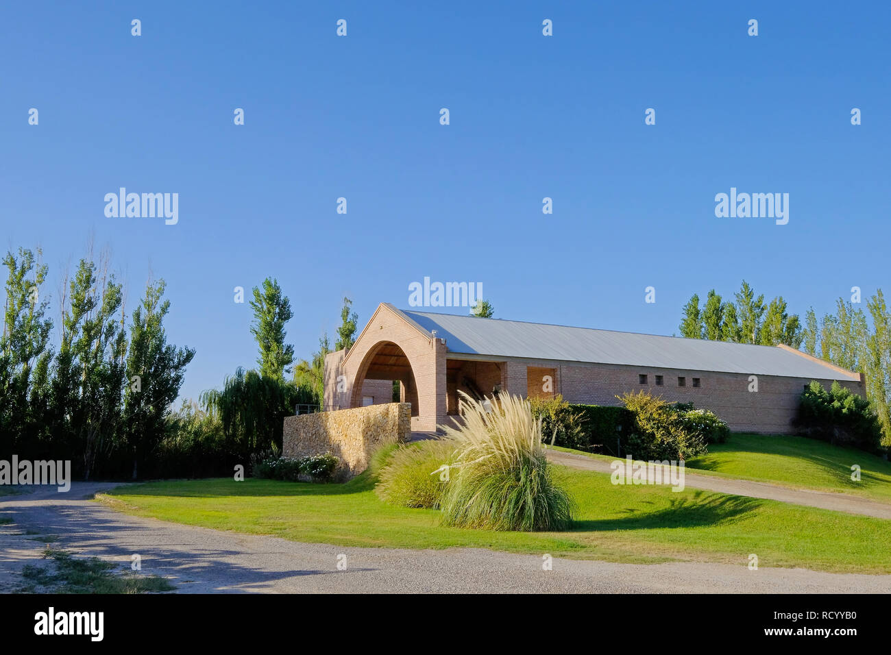 Modern Malbec winery factory in San Juan, Argentina, South America, also seen in Mendoza - Stock Image