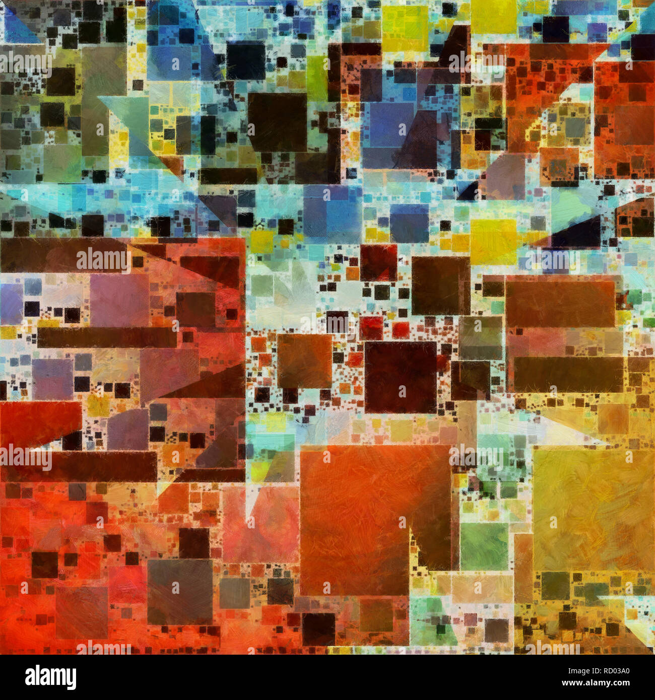 Colorful Painterly Abstract. Geometric shapes - Stock Image
