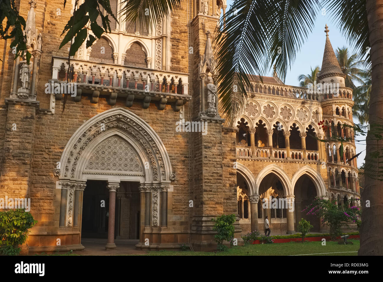 A partial view of colonial-era Mumbai University in Fort, Mumbai, India; the architecture is often described as Mumbai Gothic Stock Photo