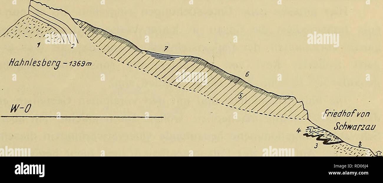 """. Denkschriften - Ãsterreichische Akademie der Wissenschaften. Exotische Gerolle und TeIitoiu""""k von Gosanablagernngen. 45 In dem erwähnten Aufnahmsbericht vom Sommer 1893 hatte er dann die Falkensteinkalke nach vorläufiger Bestimniung der darin entdeckten Fossilien und der Gesteinsähnlichkeit mit den Oberalmer Schichten Salzburgs und den Piassenkalken in Vergleich gezogen. Nach einer genaueren Prüfung der mitgebrachten caprinen- oder dicerasartigen Bivalven gelangte er dann zum Ergebnis, daà hier »CaprotinenÂ« vorliegen und er bezeichnete daher die Falken- steinkalke auf Seite 325 de Stock Photo"""