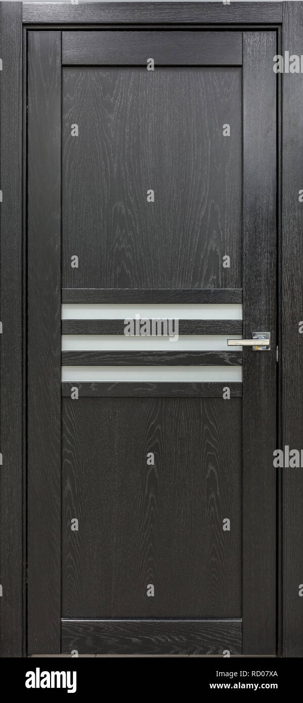 Wooden Doors In Dark Style Color For Modern Loft Interior And Condo Apartments Flat Stock Photo Alamy