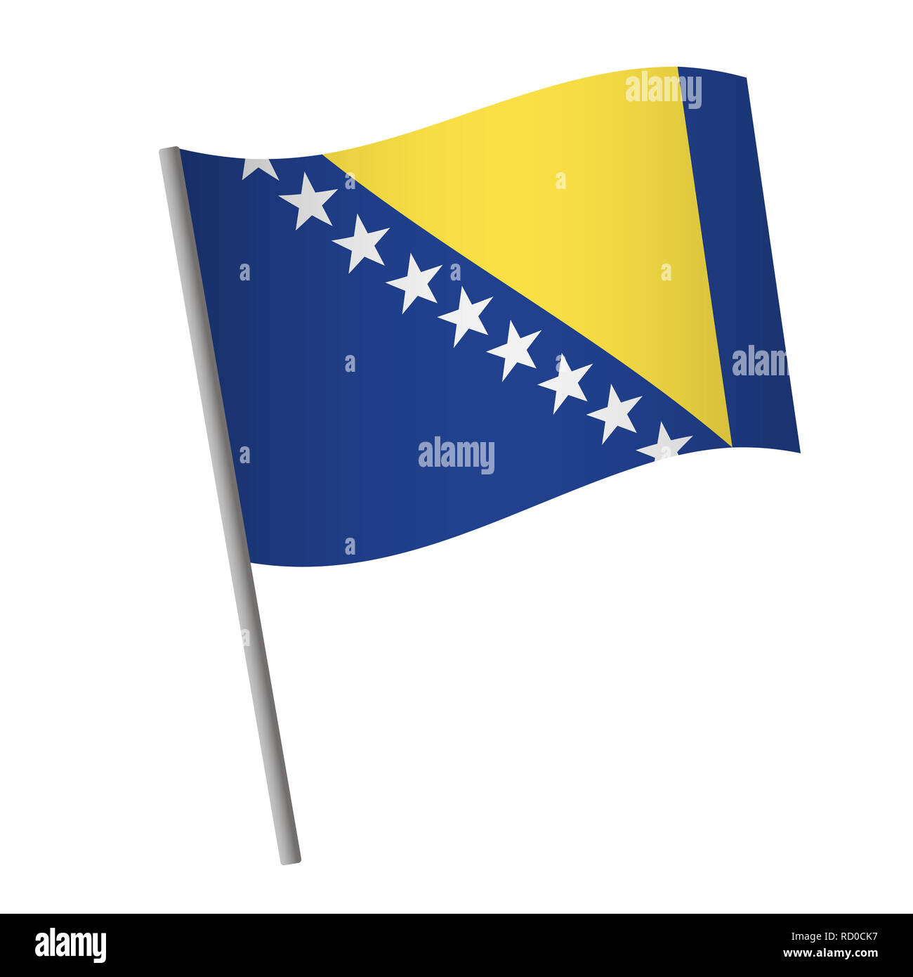 Bosnia and Herzegovina flag icon. National flag of Bosnia and Herzegovina on a pole  illustration. - Stock Image
