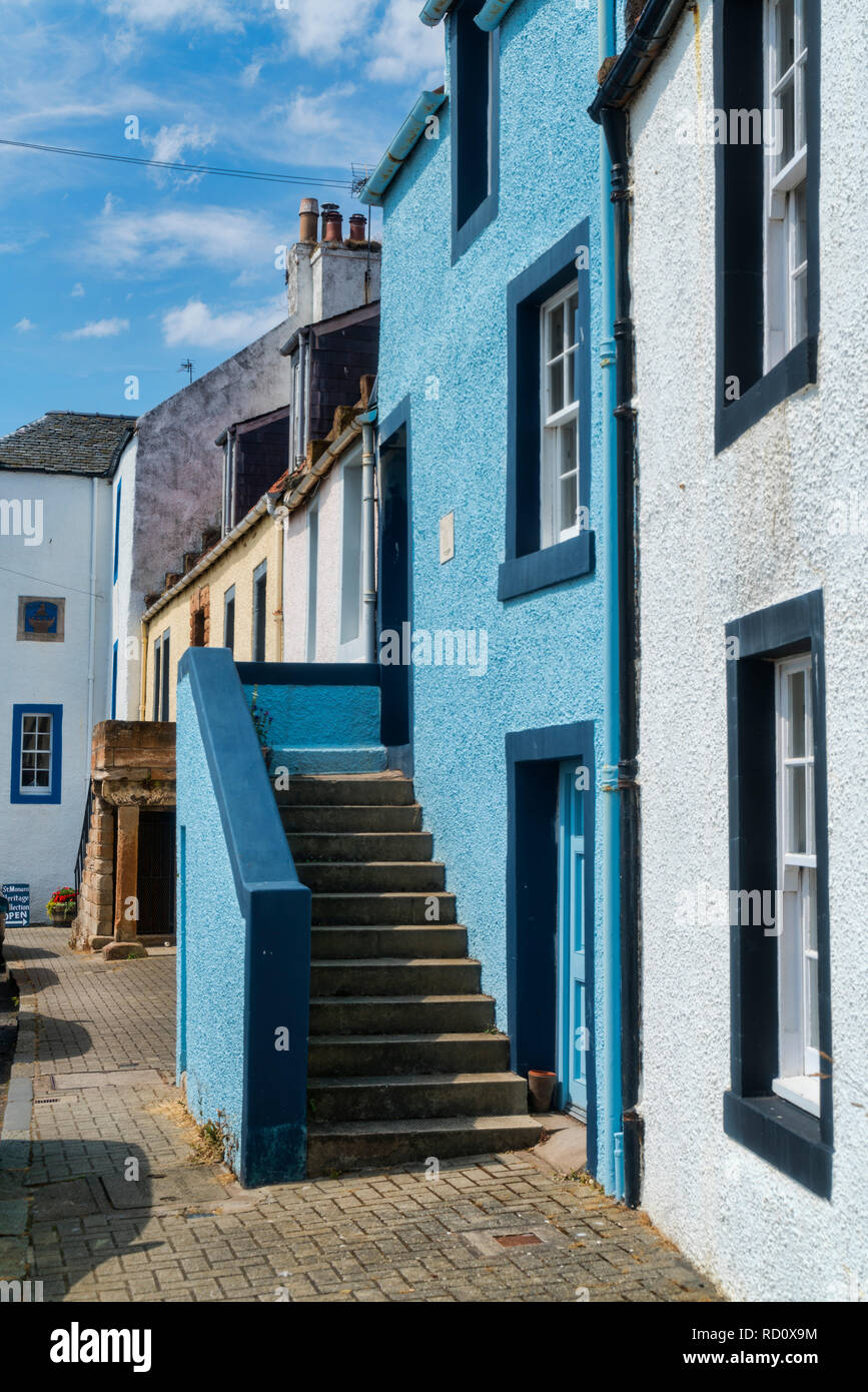 St Monans Harbour, seafront, ancient fisher houses, Neuk of Fife, Fifeshire, Scotland, UK - Stock Image