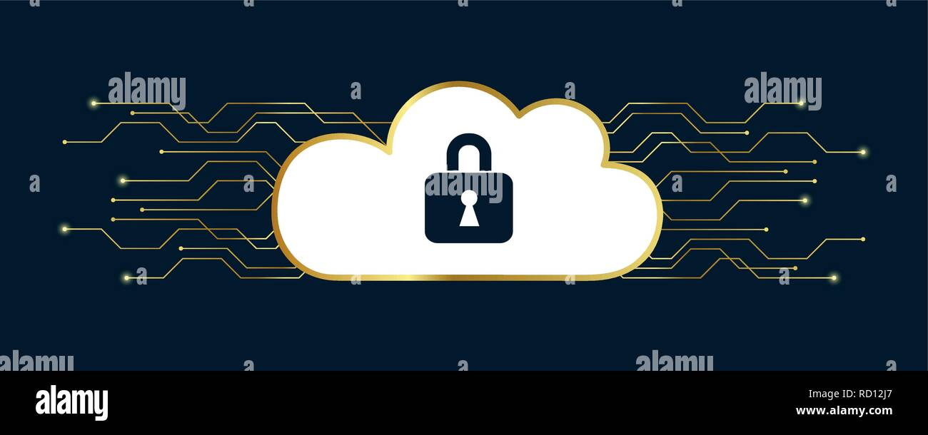 secure digital space in a cloud with lock concept vector illustration EPS10 - Stock Vector