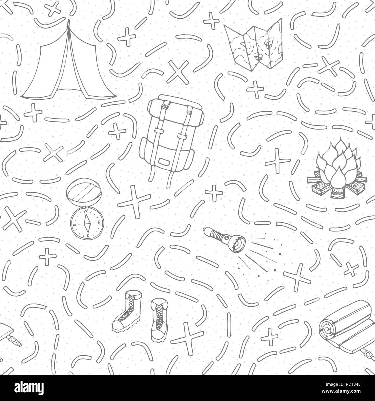 Hand drawn vector c&ing seamless pattern with backpack bonfire shoes map tent sleeping bag flashlight compass and path to location outline. T  sc 1 st  Alamy & Hand drawn vector camping seamless pattern with backpack bonfire ...