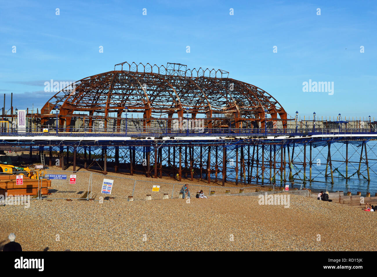 Burnt out shell of Eastbourne Pier following the fire in 2014. Eastbourne seafront, East Sussex, UK Stock Photo