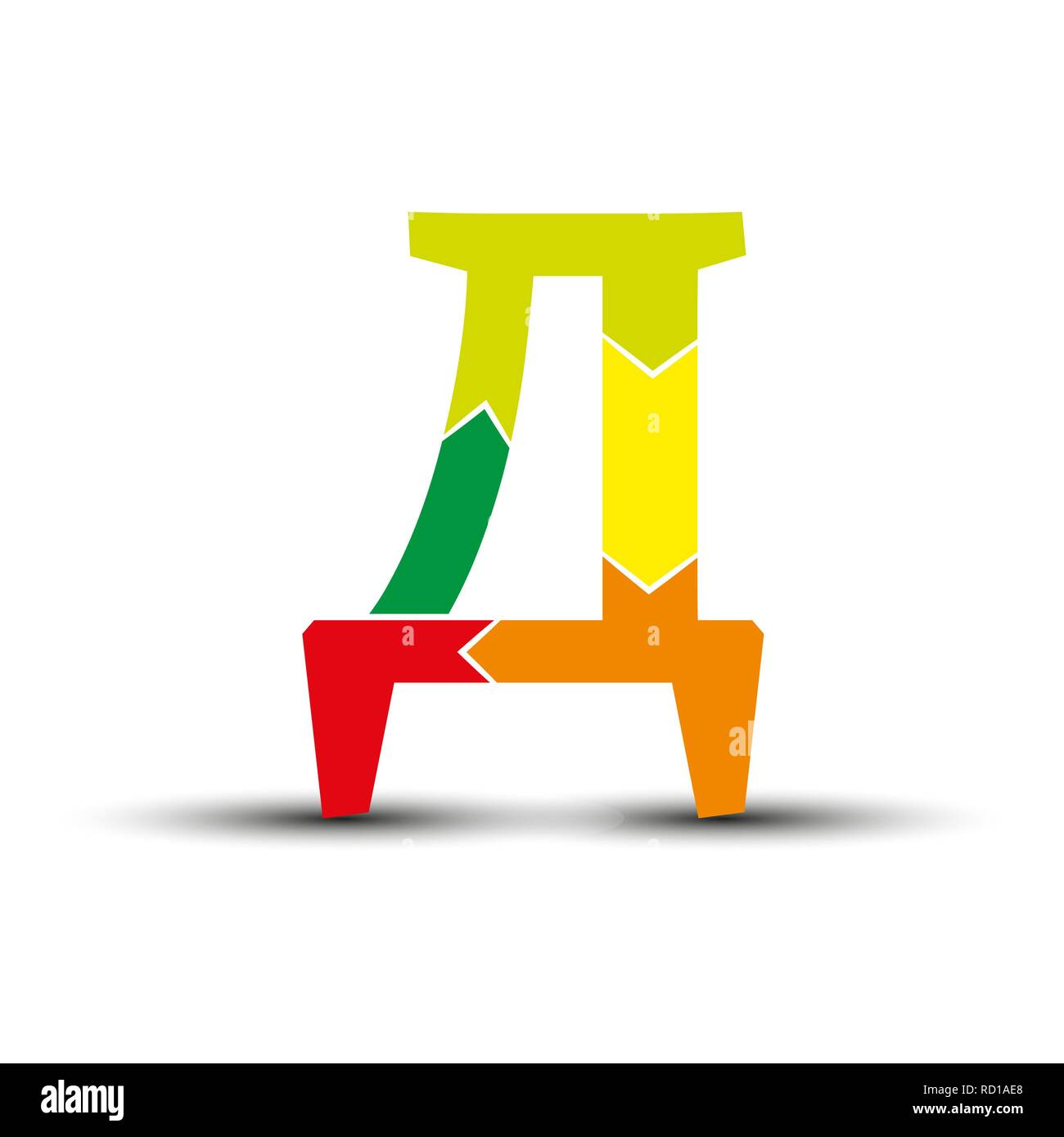 letter D of the Slavic and Cyrillic alphabets is composed of four colored arrows. - Stock Image